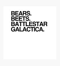 Bears, Beets, Battlestar Galactica - The Office Photographic Print