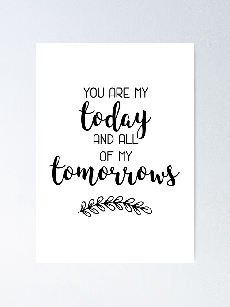 Tomorrow You Quote Print Poster Rose Gold Wall Art