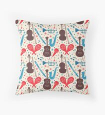 Music Instruments Pattern Throw Pillow