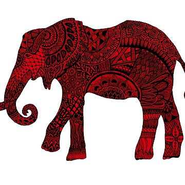Red zentangle elephant by Arollo