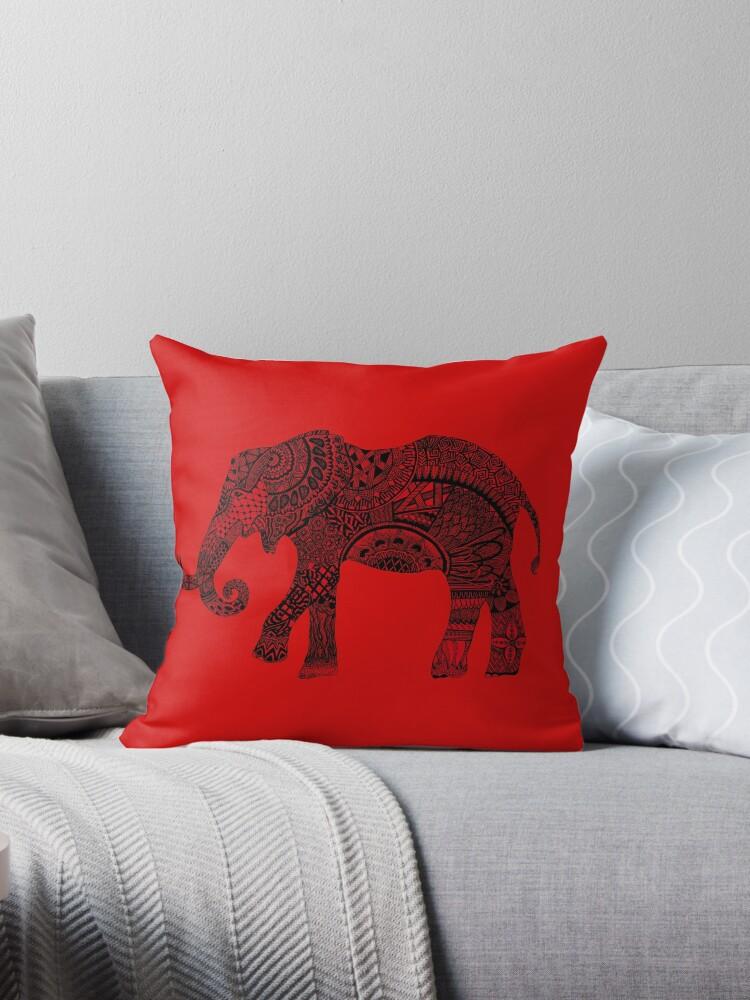 Red zentangle elephant by Maria Nazarian
