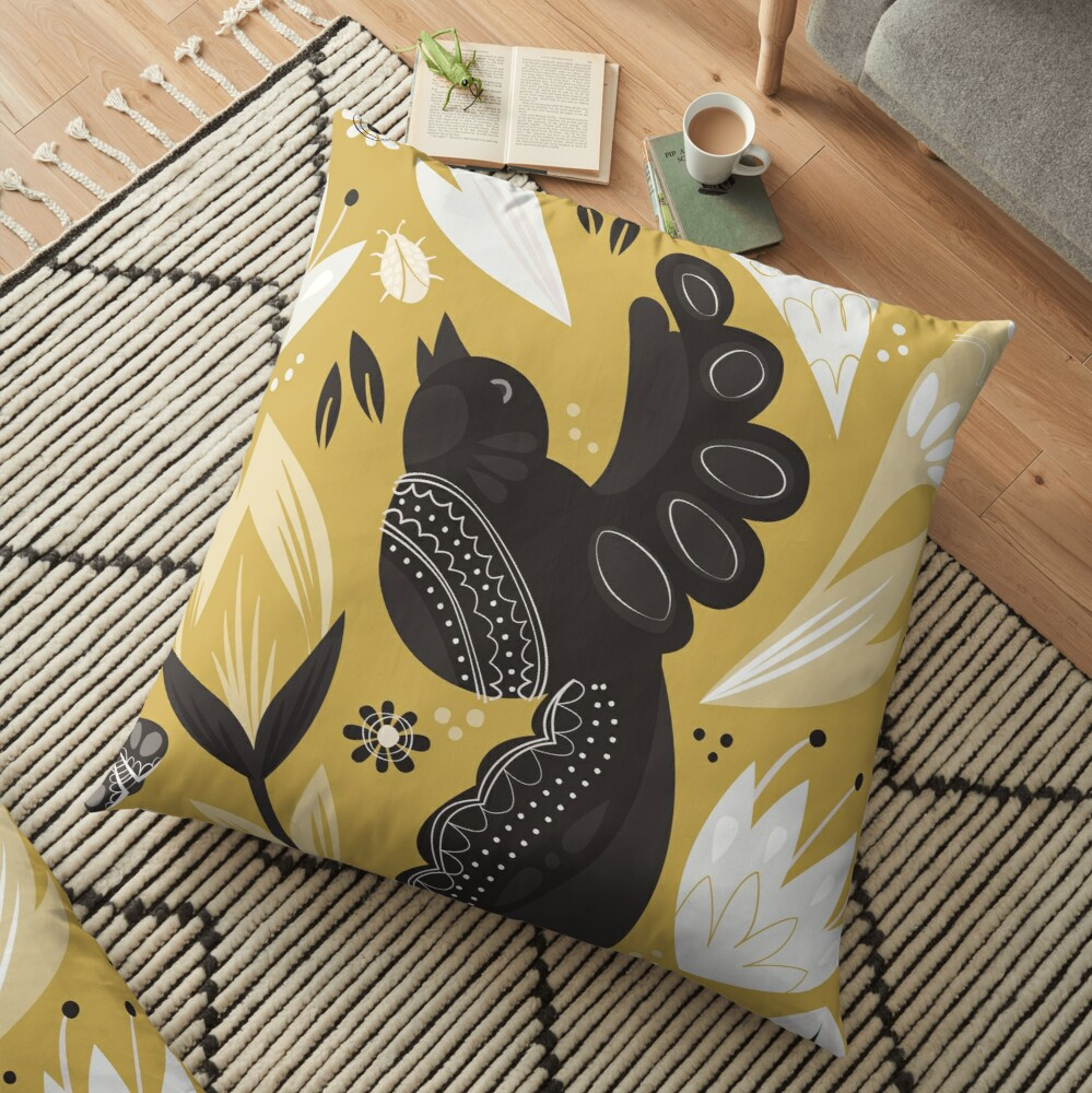 Birds and the Bugs - Yellow Floor Pillow