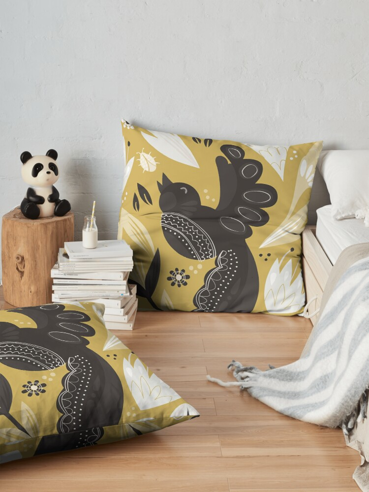 Alternate view of Birds and the Bugs - Yellow Floor Pillow