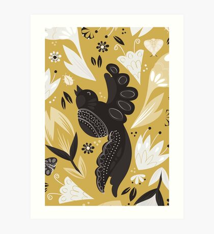 Birds and the Bugs - Yellow Art Print