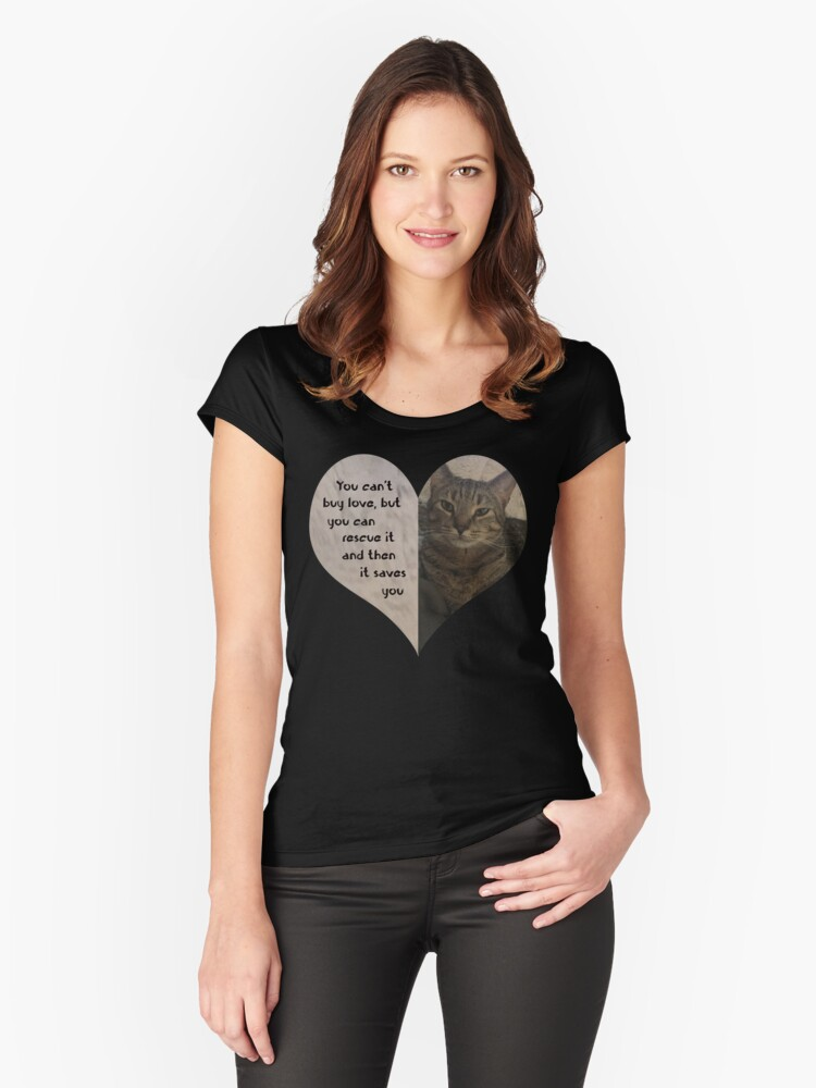 Rescue Love Kitty Cat Heart Women's Fitted Scoop T-Shirt Front