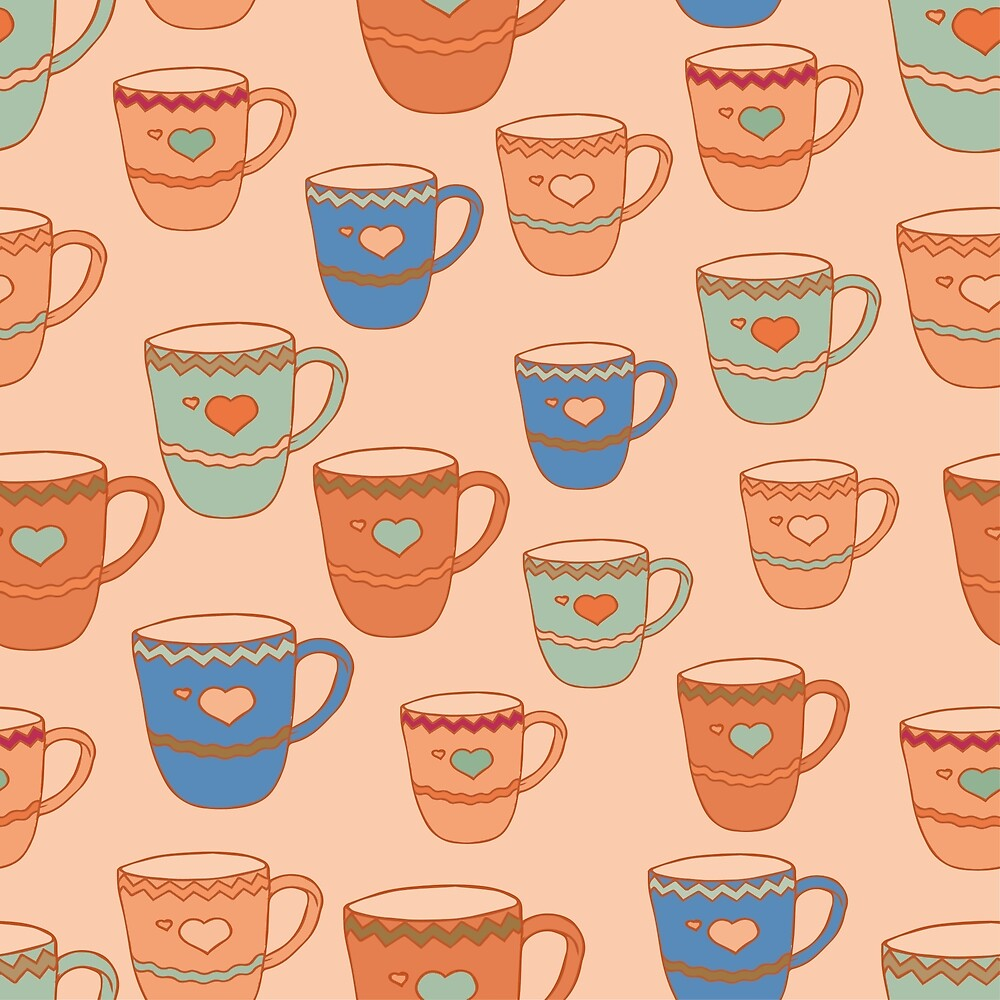 Vintage pattern with multi-colored cups by DaHaeHey