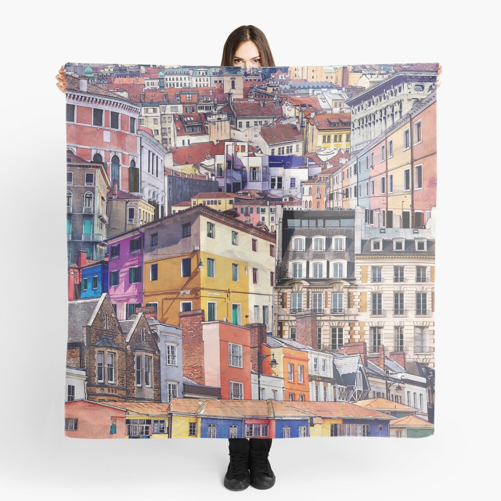 City Structures Collage Scarf