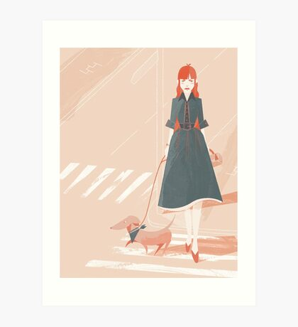 Dog Walking Art Print