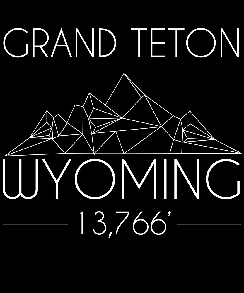 Grand Teton Wyoming Minimal Mountains Hiking Outdoors Love Heartbeat by hnwc