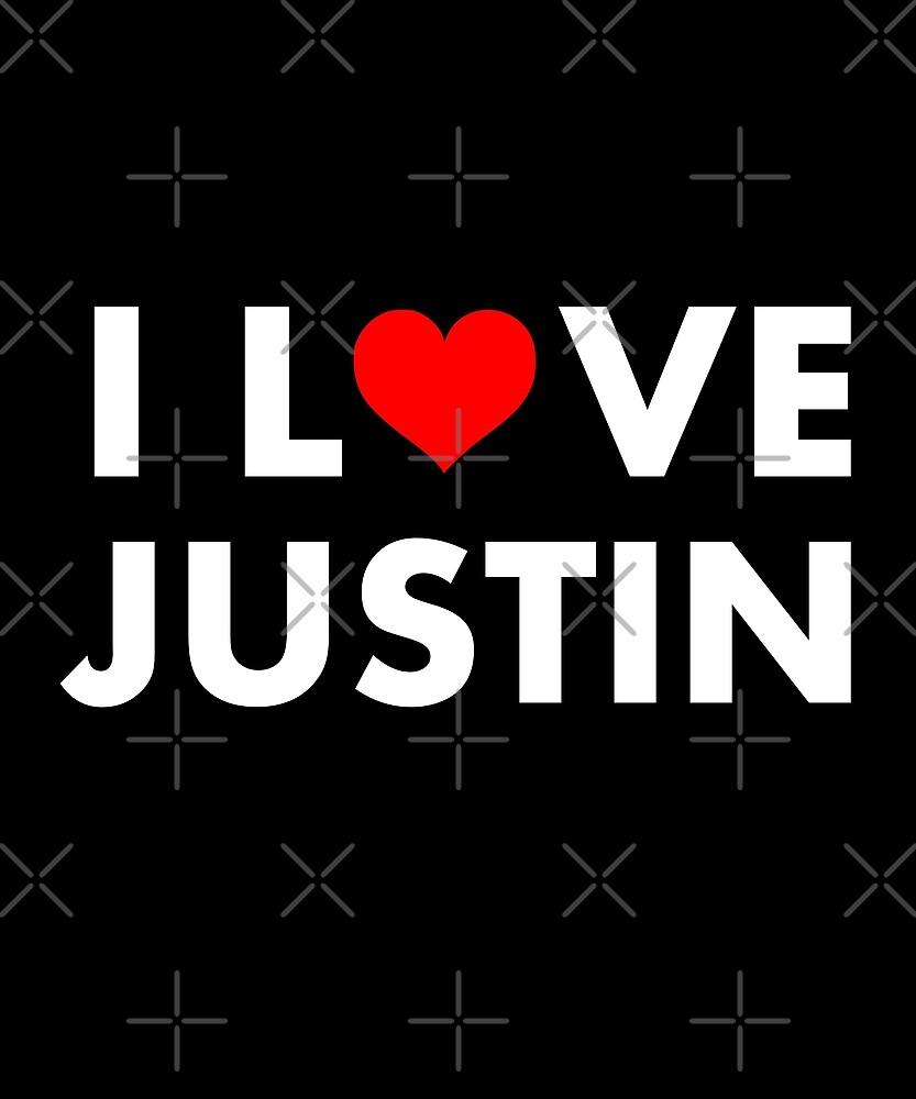 I Heart Justin I Love Justin Modern Text Dark Color by TinyStarCanada
