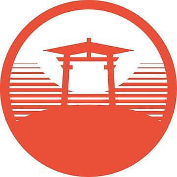 Japanese Typography t shirt design - Torii Gate Japan by JapaneseType