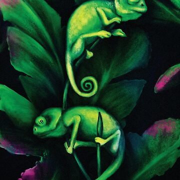 a pair of green chameleons sitting on the leaves by Eevlada