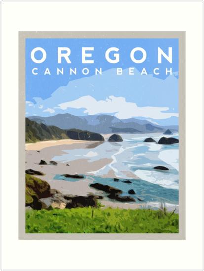 Cannon Beach, Oregon Travel Illustration by typelab