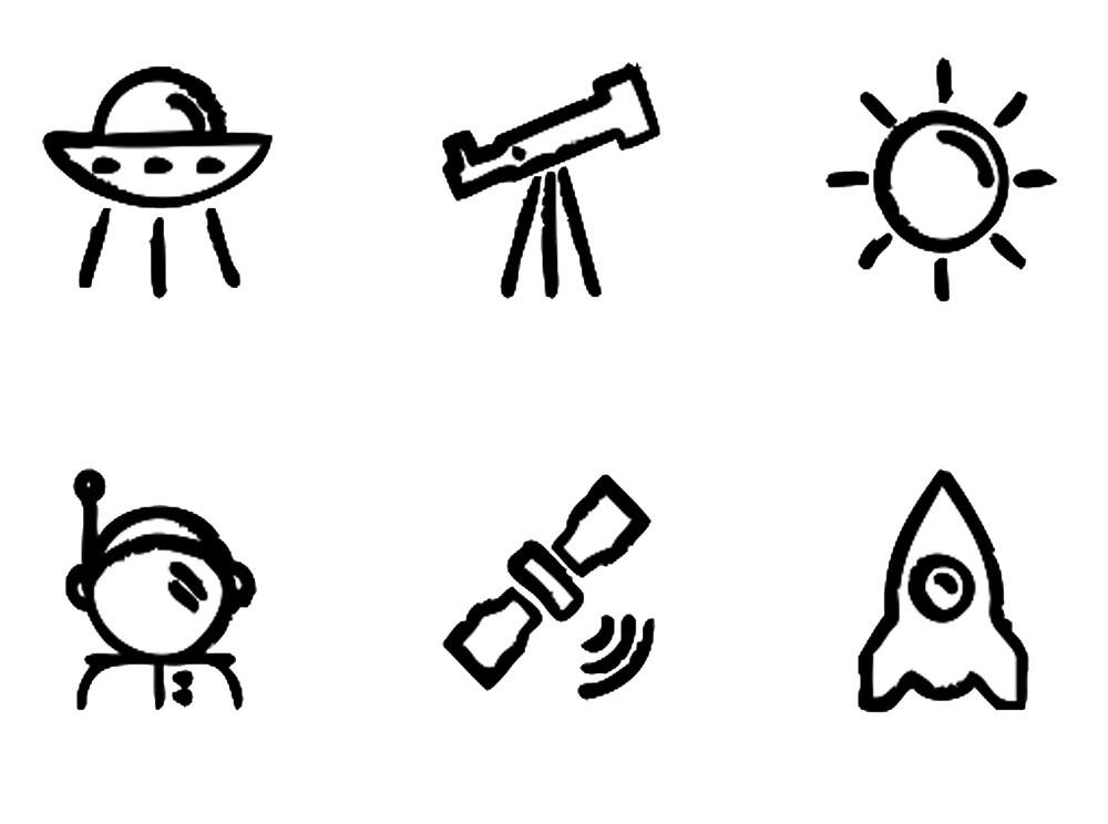 Six Space Minis Doodles by jodyceline