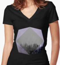 Purple Fog Evening In The Forest Women's Fitted V-Neck T-Shirt
