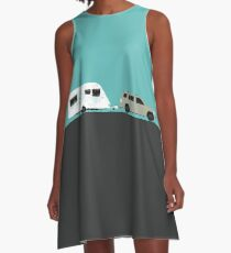 Caravan road trip | Green A-Line Dress