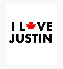 I Love Justin I Heart Justin With Maple Leaf Light Color Photographic Print