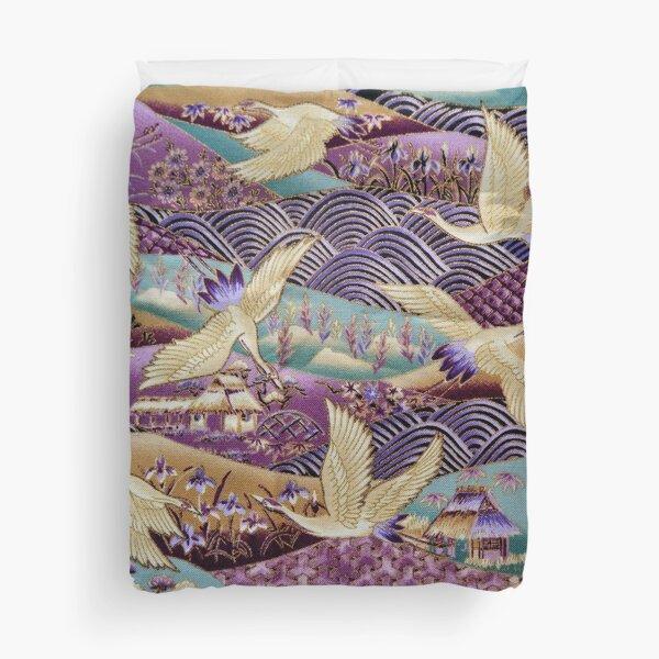 Japanese Crane kimono style embroidered pattern Duvet Cover