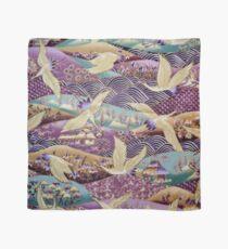 Japanese Crane kimono style embroidered pattern Scarf