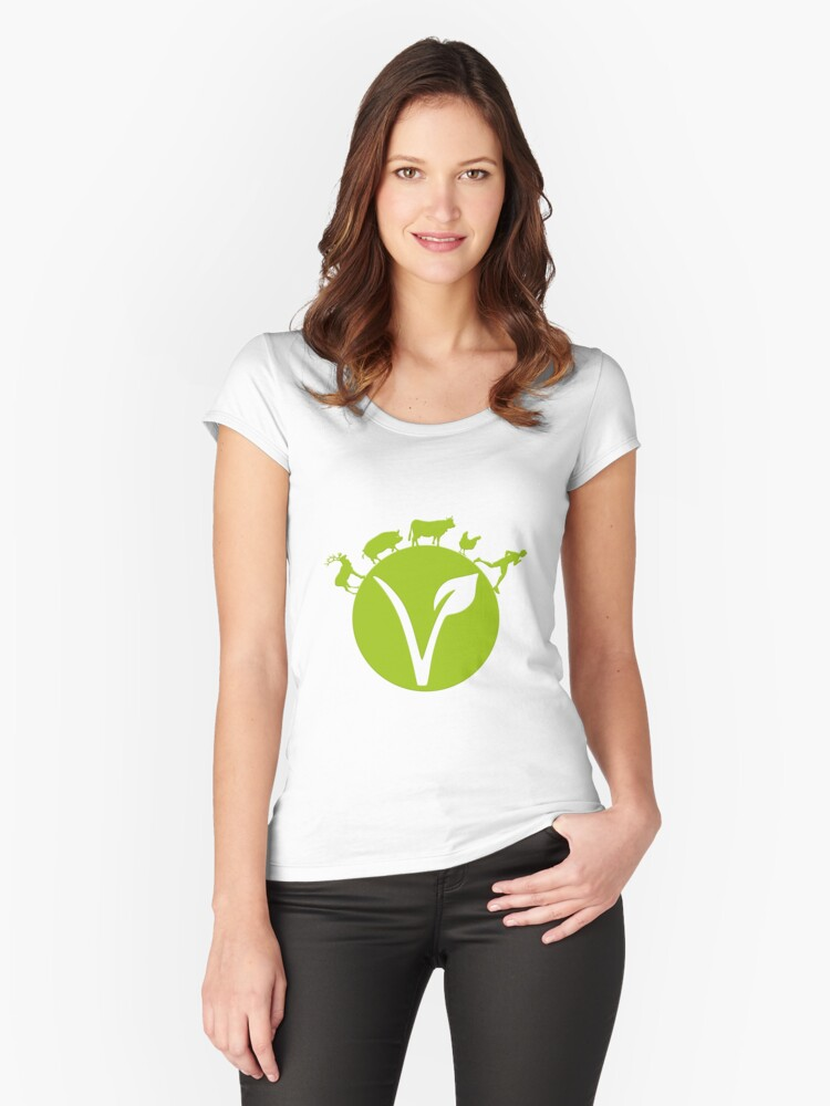 Vegan Logo - Planet Women's Fitted Scoop T-Shirt Front