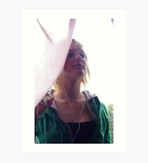 Music / Curtain / Girl Art Print
