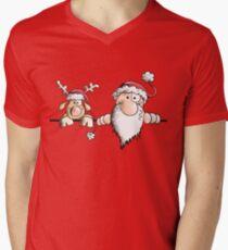 Funny Santa Claus With Reindeer Men's V-Neck T-Shirt