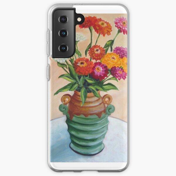 Zinnias in an Art Deco vase Samsung Galaxy Soft Case