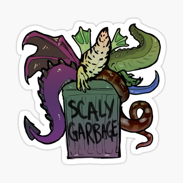 scaly things! and a frog! in a trash can! Sticker