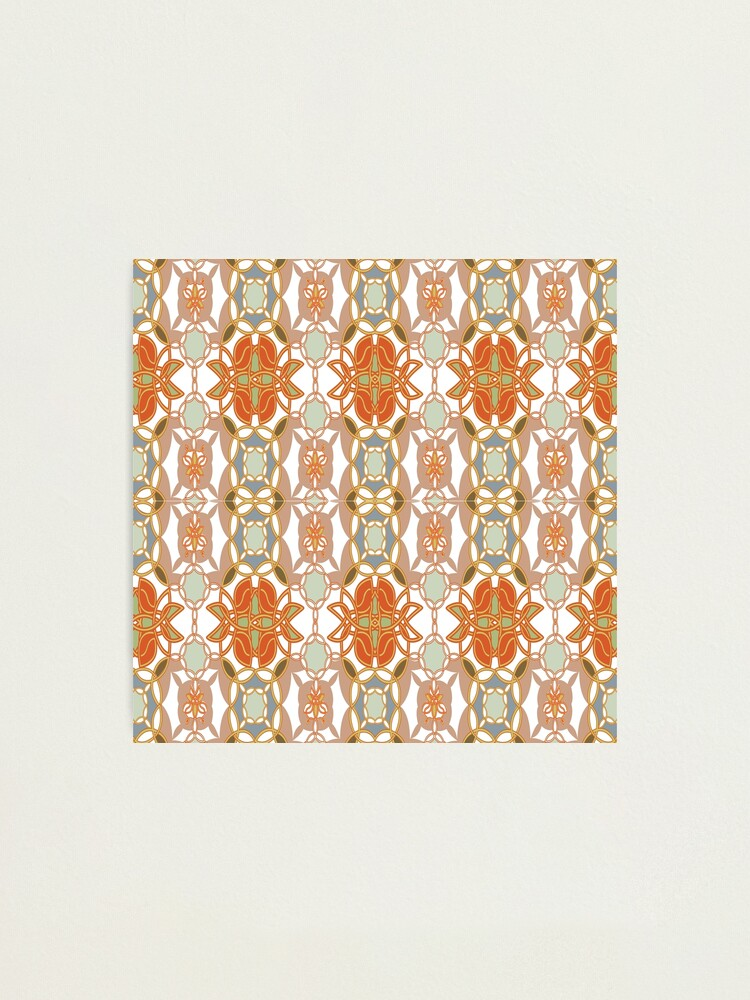 Alternate view of Orange, Weave, drawing, figure, picture, illustration, carpet, rug, tapis Photographic Print