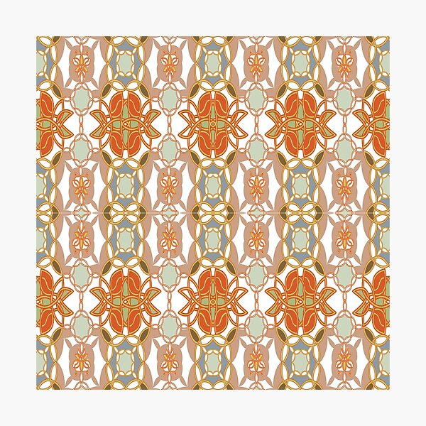 Orange, Weave, drawing, figure, picture, illustration, carpet, rug, tapis Photographic Print