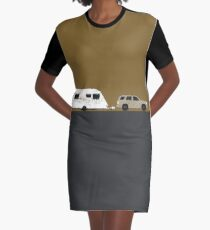 Caravan road trip | Gold Graphic T-Shirt Dress