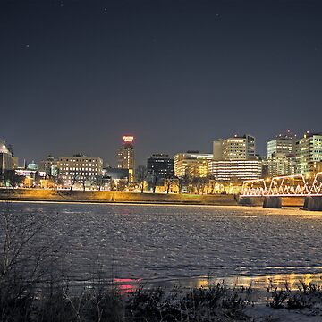 Harrisburg Skyline at Night in Winter by cvdad