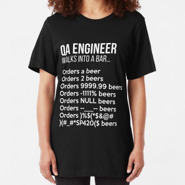 QA Engineer Walks into a Bar T-Shirt Funny Debugging Slim Fit T-Shirt