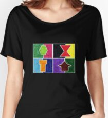 4 Cclors Card (Facemadics colorful iIllustration shape drawing) Relaxed Fit T-Shirt