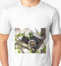 Vintage Camera Apple Blossoms Unisex T-Shirt