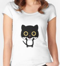 CAT BLACK CUTE COOL Women's Fitted Scoop T-Shirt