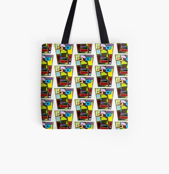 Scattered Mess Repeat (Facemadics abstract face colorful contemporary) All Over Print Tote Bag