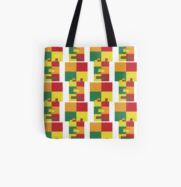 Fro Square Repeat (Facemadics colorful contemporary abstract face) All Over Print Tote Bag