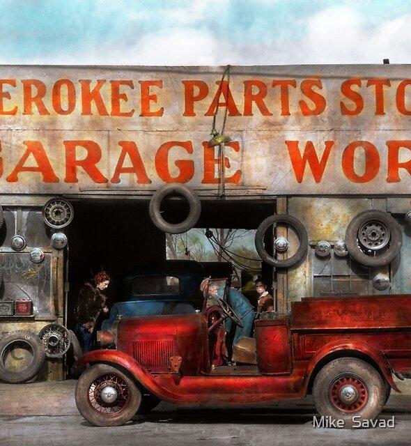 Car - Garage - Cherokee Parts Store - 1936 by Michael Savad