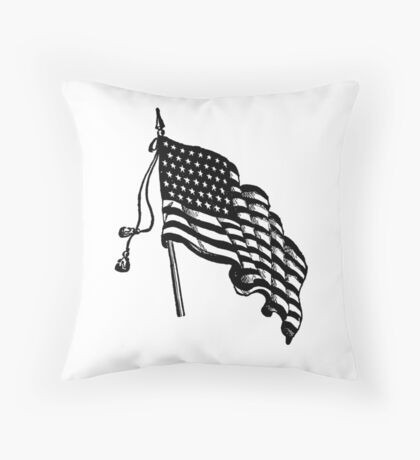 Vintage and Retro American Flag Throw Pillow