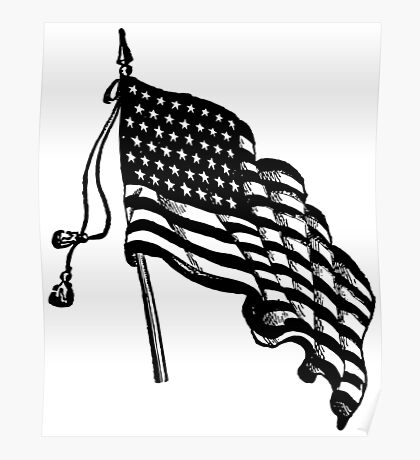 Vintage and Retro American Flag Poster