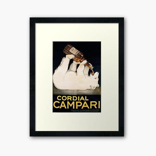 Vintage Liquor Poster Polar Bear Framed Art Print