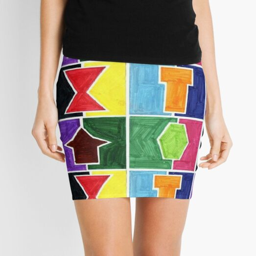 4 Cclors Card (Facemadics colorful iIllustration shape drawing) Mini Skirt