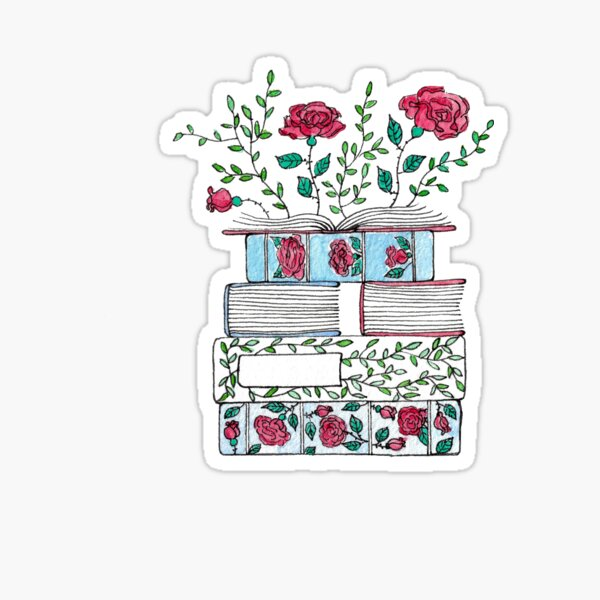 Blooming Stack of Books Sticker