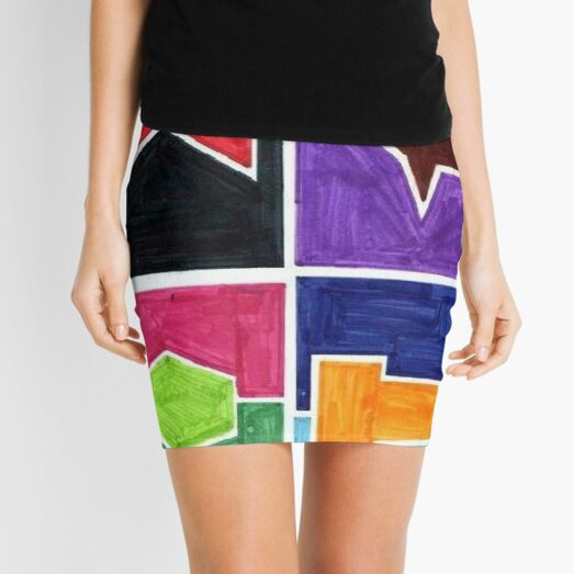 Four Colors Side Ways (Facemadics colorful iIllustration shape drawing) Mini Skirt