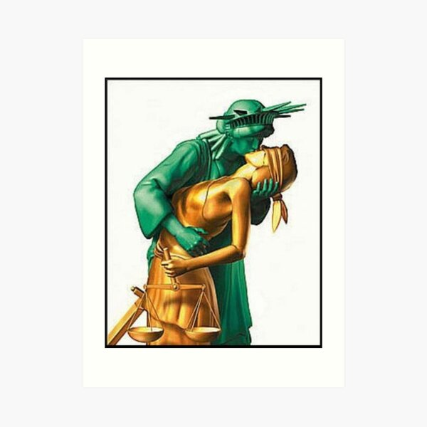 Lady Liberty and Justice Kiss Art Print