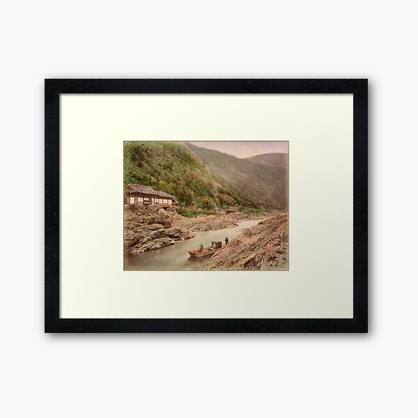 View of rapids, Kyoto Framed Art Print