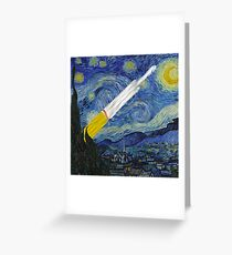 Falcon Heavy On a Starry Night Greeting Card
