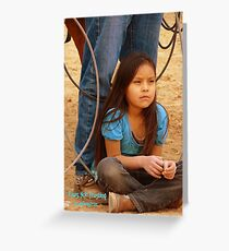 Eyes Not Trusting, Portrait Of A Native American Child Greeting Card