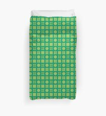 Green Circles and Squares Duvet Cover